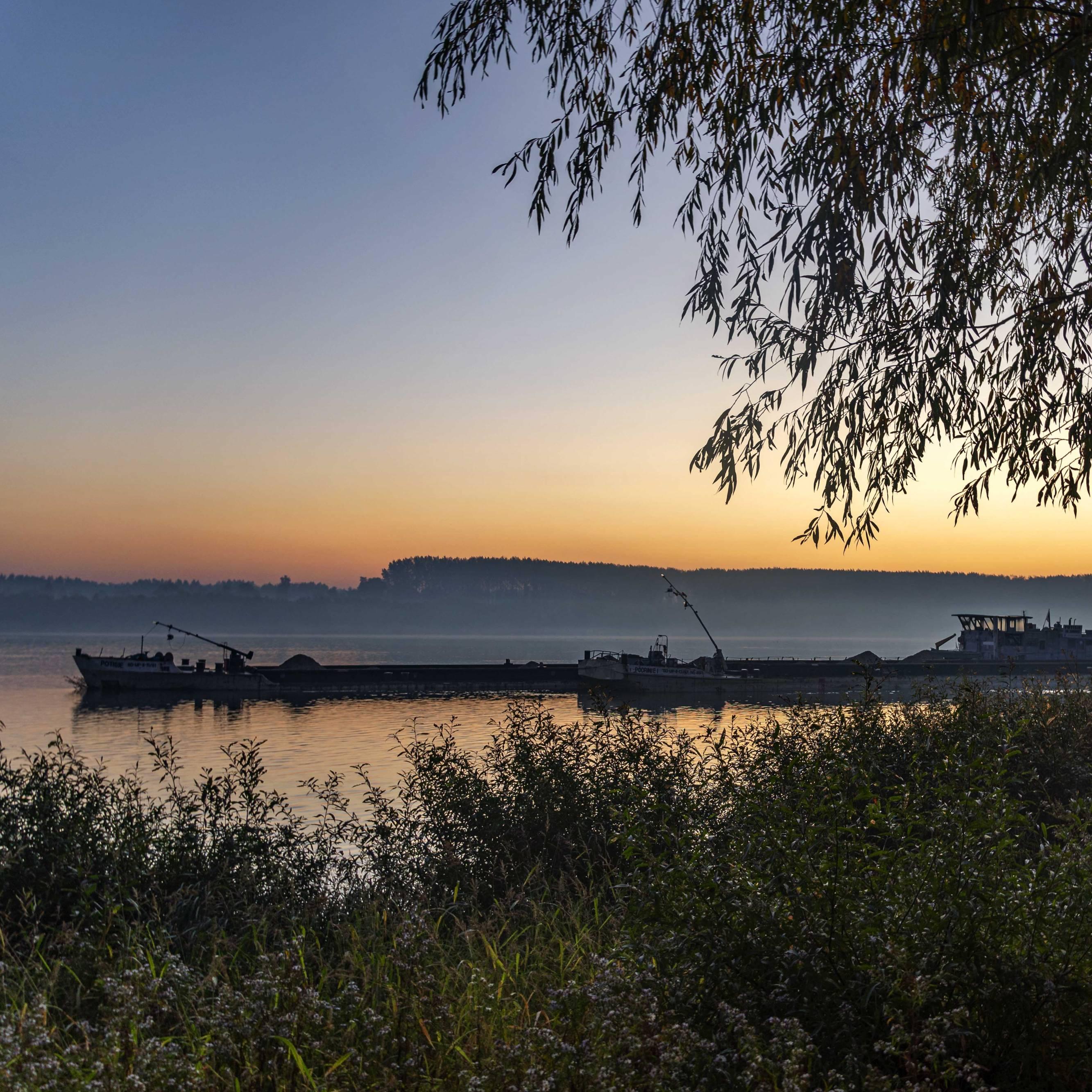Sunrise at the river Donau in Serbia