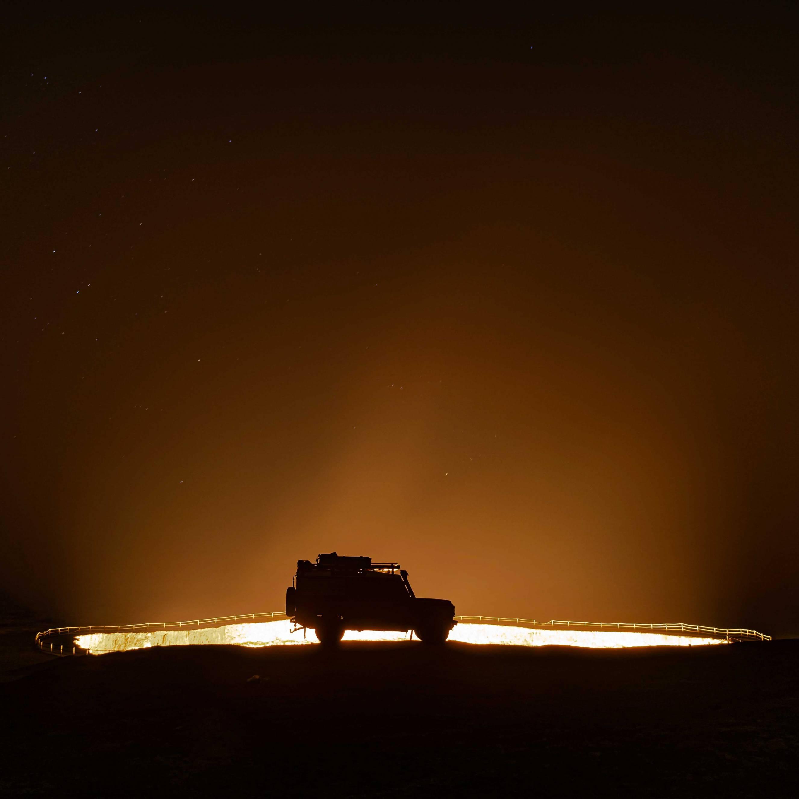 Camping at Darvaza gas krater